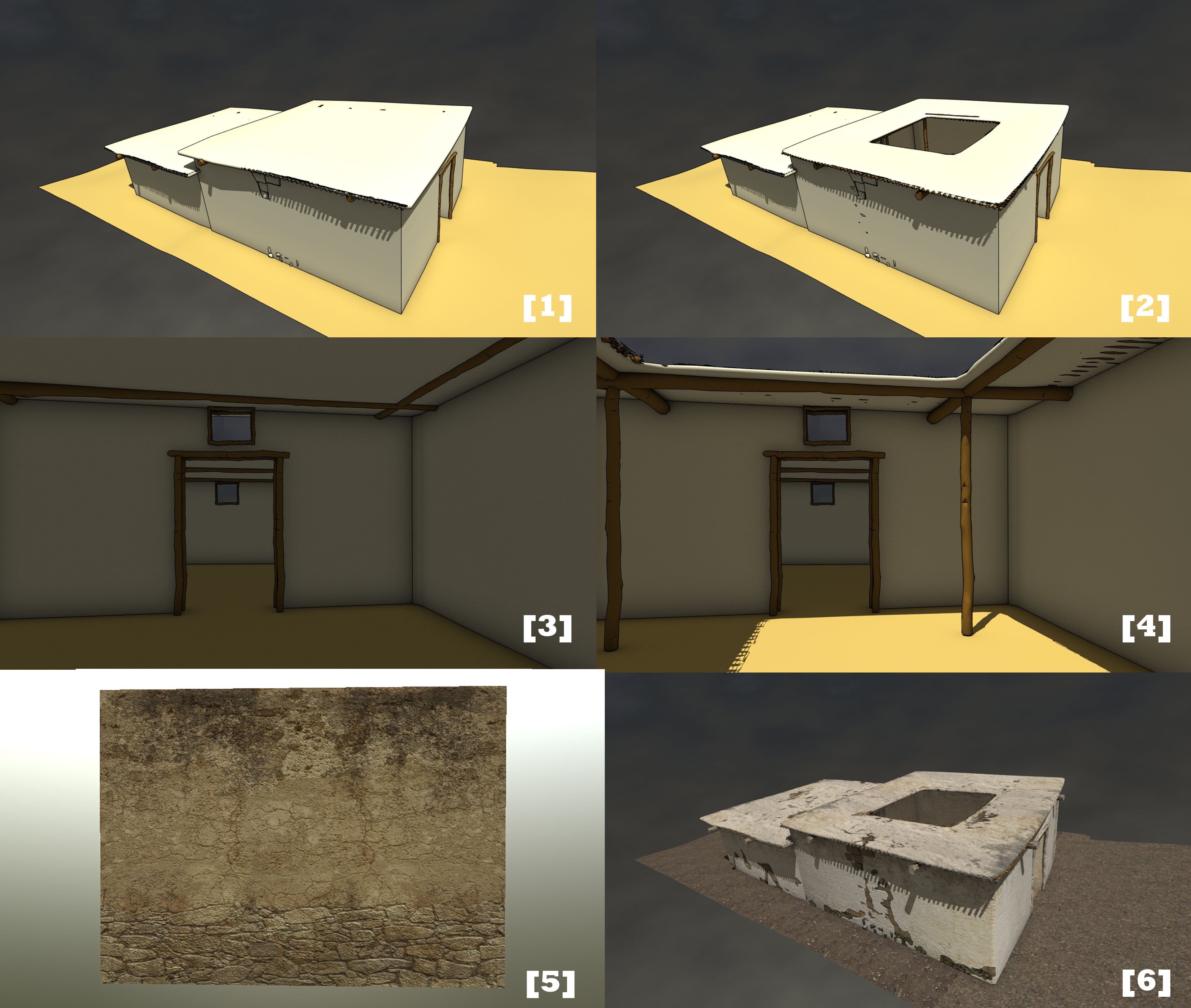 CAD model of an Early Bronze Age building and texture