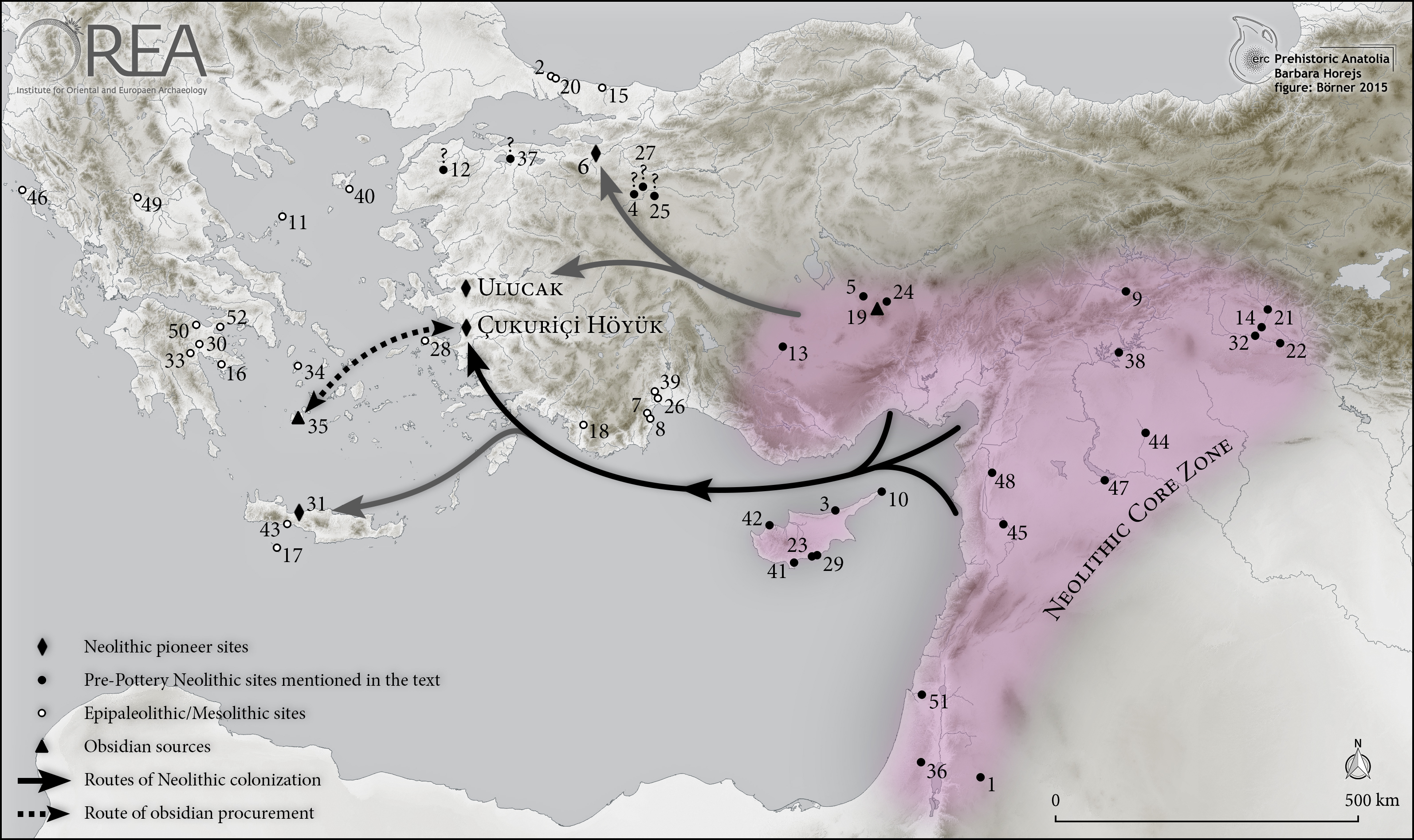 Map of the neolithisation of Western Anatolia with supposed routes of colonization from the Neolithic core zone of the Fertile Crescent